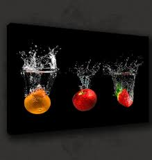 For Kitchen Art Details About Black Fruits Splash Modern Kitchen Art Canvas Print