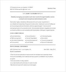 Wedding Planning Contract Templates Awesome Event Coordinator Resume