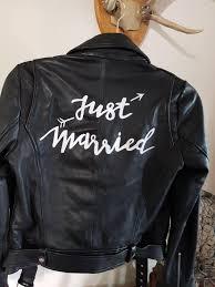 zara leather biker jacket just married calligraphy bride wedding jacket jacket jm
