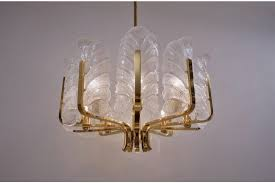 carl erlund orrefors chandelier glass leaves brass 10 light 1960 s ca sweden vinterior