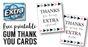 Printable Thank You Cards For Teachers Extra Gum Thank You Printable Paper Trail Design