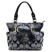 Discount Coach Poppy Bowknot Signature Medium Grey Totes ANC Clearance