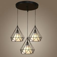 fabric and wire style three light multi light pendant with diamond shape shade
