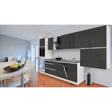 Respekta Küchenzeile GLRP380HWG Grifflos 380 cm Grau Hochglanz