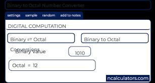 Octal Number Chart