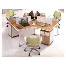 4 person office computer desk partition with metal leg