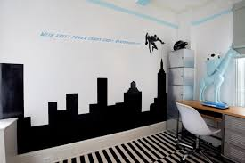 teenage bedroom designs black and white. Bedroom. Minimalist Teenage Bedroom Design Ideas Showcasing Magnificent Black Cityscape Silhouette Wall Mural And Perfect Quotes Integrate Versatile Study Designs White