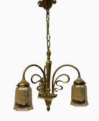rare french art nouveau chandelier signed p lucas bronze with glass shades 342642 ingantiques co uk