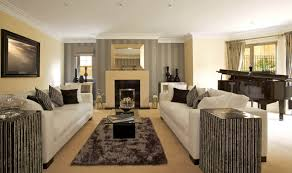beige living room furniture. Minimalist, Black, White, And Beige Theme Unifies This Living Room, Featuring Lengthy Room Furniture