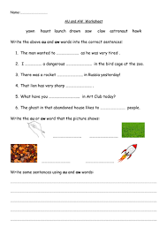 A collection of free, printable vowel digraph phonics worksheets highlighting the ou, oo, ow, ew, and aw this is a collection of free, printable worksheets for teaching esl students vowel digraph. Au And Aw Worksheet Teaching Resources