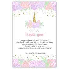 Thank you card for baby shower gift. 30 Thank You Cards Unicorn Head Baby Girl Shower Pink Lavender Gold Pink The Cat