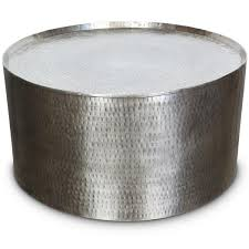 Rotonde Silver Hammered Metal Industrial Round Coffee Table