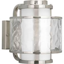 one light brushed nickel distressed clear and etched opal glass outdoor wall