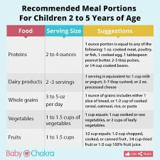 Recommended Meal Portions For Children 2 To 5 Years Of Age