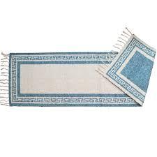 greek key cotton runner rug light blue 2