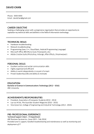 examples of work experience on a resume sample resume for fresh graduates it professional jobsdb hong kong