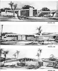 mid century vintage house elevations