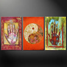 palm zen yin yang 3 pannelli wall art  on yin yang canvas wall art with palm zen yin yang 3 pannelli wall art canvas print picture pronto da