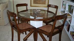 Glass Dining Table Round Round Glass Dining Table With Wooden Base