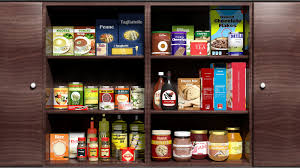 wooden kitchen cabinet full of food s