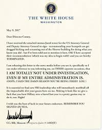 How Do You Sign A Letter Of Recommendation Presidents Termination Letter To Fbi Director James Comey Trump