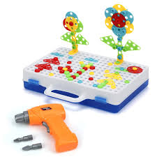 Drill N Design Mosaic Art Glonova Creative Drill Play Toys With Real Toy Drill For Kids 237 Piece Mosaic Design Building Toys For Kids Age 3