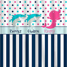 sharks mermaid shared shower curtain hot pink navy turquoise and white combination novelty custom personalized design