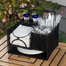 12 in x 11 in black rattan tabletop serveware and condiment organizer and caddy