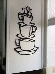 coffee house black cup design java silhouette wall art metal mug kitchen decor 875692150230