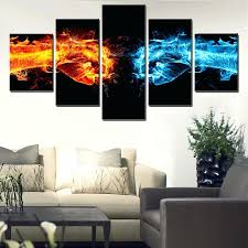 best office art. fire and water cooperation team work poster canvas wall art best office decor gifts oil paintingart s