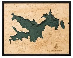 Lake Arrowhead Wood Carved Topographical Depth Chart Map