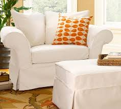 charleston slipcovered chair and a half pottery barn chair and ottoman slipcover