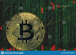 Token Btc Bitcoin Cryptocurrency On The Background Of Binary
