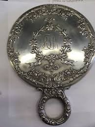 ornate hand mirror. Image Is Loading Antique-Hand-Mirror-Sterling-Silver-Ornate-Floral-Pattern- Ornate Hand Mirror