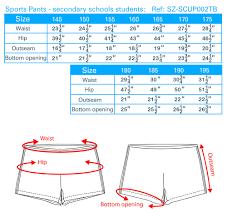 School Pant Size Chart