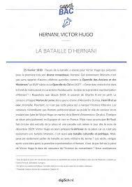 Cours De Littérature Sur La Bataille Dhernani Hernani Victor