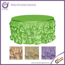 776 elegant style ruffled design lime wedding table skirting for round square table