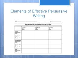 persuasive writing th grade 7 elements of effective persuasive writing