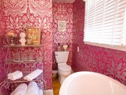 Light Pink Wallpaper For Bedrooms Bathroom Restful Bathroom With Black Damask Wallpaper And Round