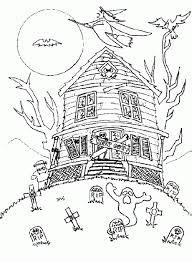 Small Picture Haunted House Halloween Coloring Pages Middle School Hallowen
