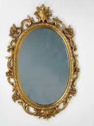 Vintage Baroque Roses Large Gold Oval Framed Mirror Oval Frame in