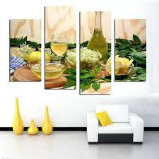 fruit lemon juice green flowers canvas painting modern wall fruit lemon juice green flowers canvas painting hanging kitchen decor kitchen wall