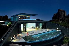 infinity pool beach house. Home With Infinity Pool And Glass Bottomed Rendered In 3D Beach House
