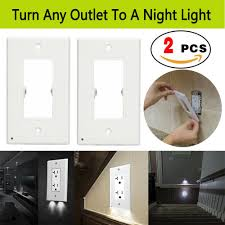 Light Switch With Night Light Built In Details About 2 Pack Outlet Wall Cover Plates With 2 Led Night Light Light Sensor Auto On Off