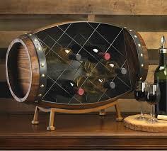 wood barrel countertop wine rack