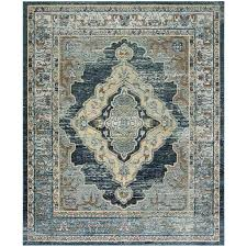 safavieh crystal emory blue yellow indoor distressed area rug common 9 x 12