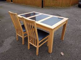 rubber wood table with 2 chairs. rubber wood dining table granite inserts \u0026 2 chairs free delivery (04788) with u