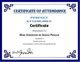free perfect attendance certificate certificate of attendance template microsoft word simplygest