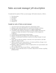 Creative Account Manager Job Description For Resume Luxurious And