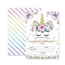 Kids Invitations Amazon Com Magical Unicorn Birthday Invitations Outego Glitter
